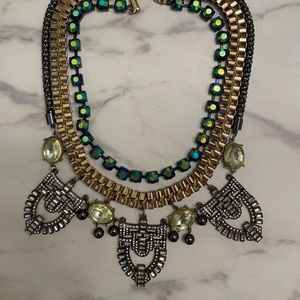 Layered Mixed Metal Crystal Statement Necklace